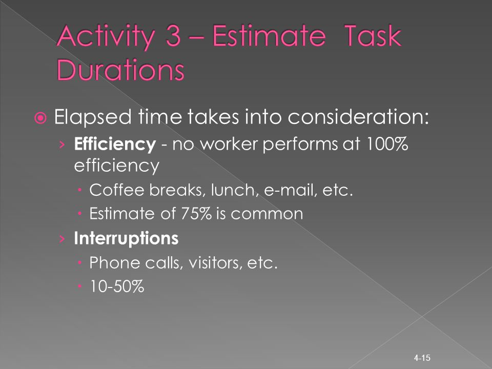  Elapsed time takes into consideration: › Efficiency - no worker performs at 100% efficiency  Coffee breaks, lunch, e-mail, etc.