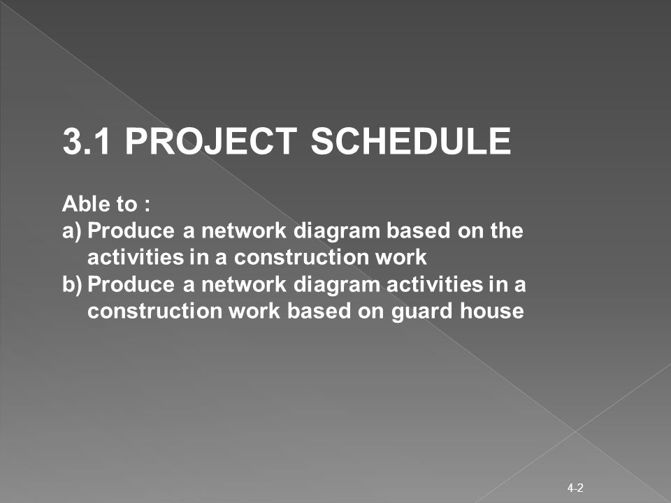 4-2 3.1 PROJECT SCHEDULE Able to : a)Produce a network diagram based on the activities in a construction work b)Produce a network diagram activities in a construction work based on guard house