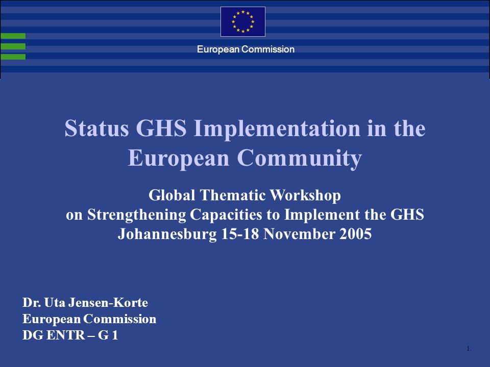 1. European Commission Status GHS Implementation in the European Community Global Thematic Workshop on Strengthening Capacities to Implement the GHS J