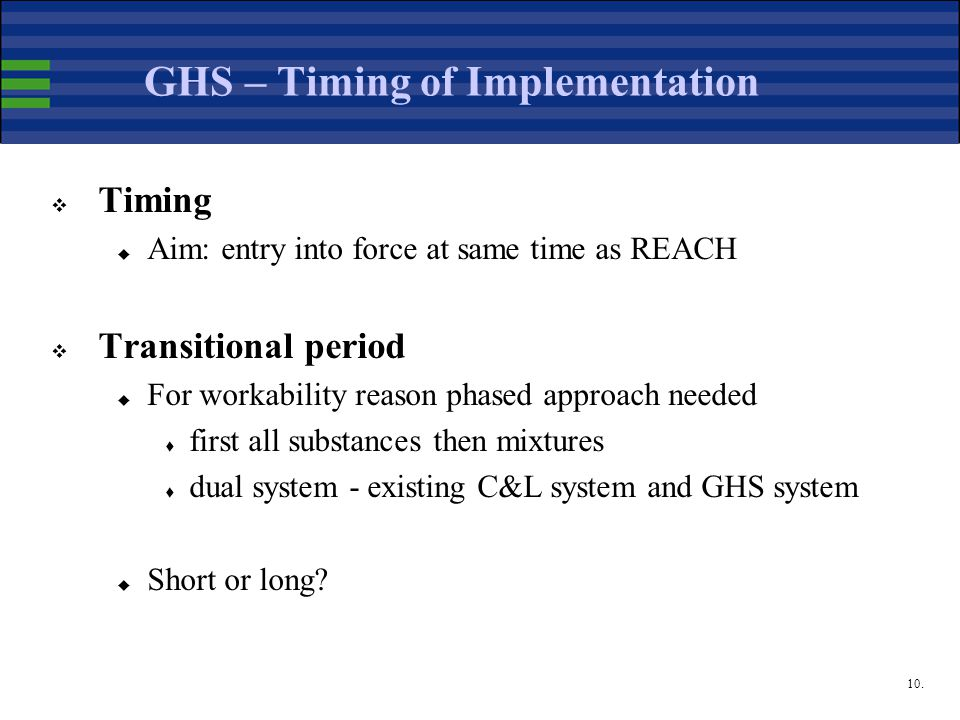 10. GHS – Timing of Implementation  Timing  Aim: entry into force at same time as REACH  Transitional period  For workability reason phased approa