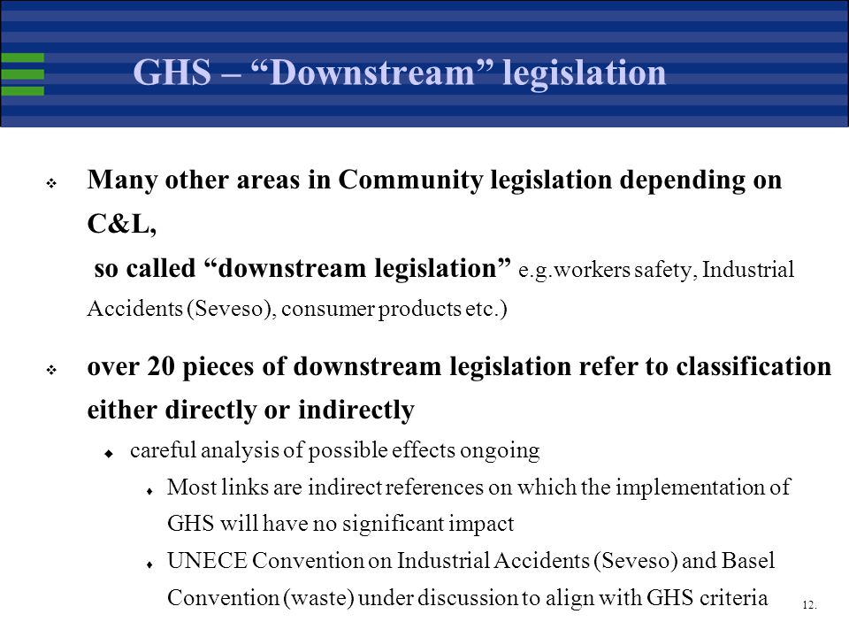 "12. GHS – ""Downstream"" legislation  Many other areas in Community legislation depending on C&L, so called ""downstream legislation"" e.g.workers safety"