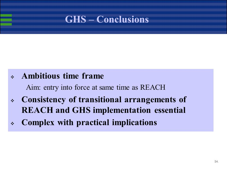 14. GHS – Conclusions  Ambitious time frame Aim: entry into force at same time as REACH  Consistency of transitional arrangements of REACH and GHS i