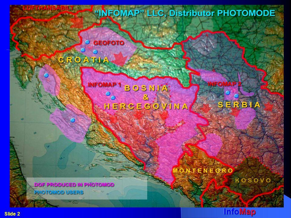 Aerial survey -Entire area of The Republic of Serbska (BiH) in the Scale=1:20000 (2001), 2.5 mil.ha (1/2 BiH), 4300 aerial images - All cities of The Republic of Serbska (BiH) in Scale=1:6000 (2004) 45 cities, over 2000 aerial images