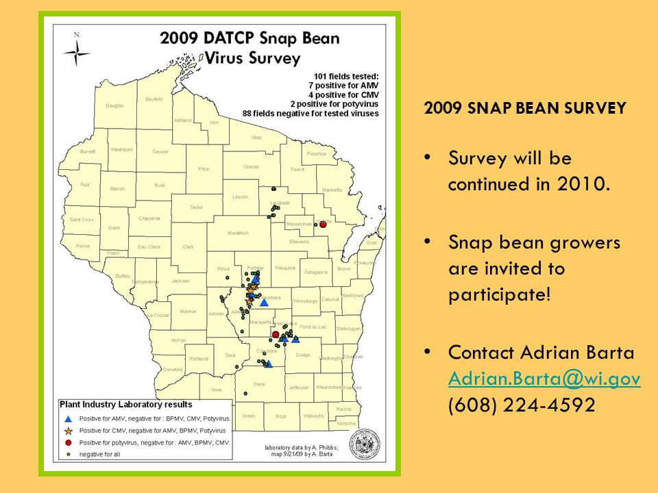 2009 SNAP BEAN SURVEY Survey will be continued in 2010.