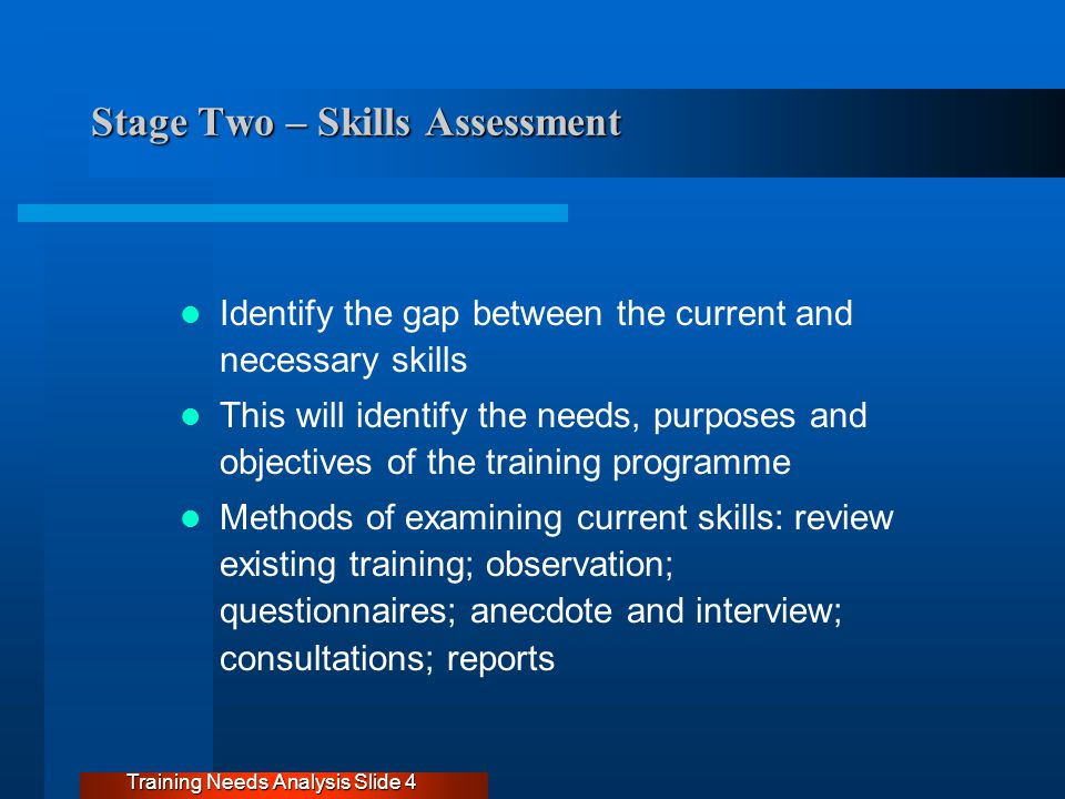 Stage Two – Skills Assessment Identify the gap between the current and necessary skills This will identify the needs, purposes and objectives of the training programme Methods of examining current skills: review existing training; observation; questionnaires; anecdote and interview; consultations; reports Training Needs Analysis Slide 4