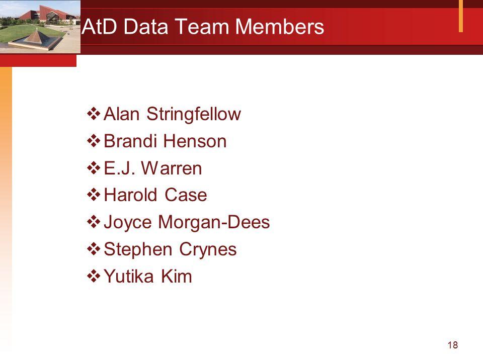 18 AtD Data Team Members  Alan Stringfellow  Brandi Henson  E.J.
