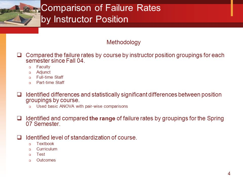 4 Comparison of Failure Rates by Instructor Position Methodology  Compared the failure rates by course by instructor position groupings for each semester since Fall 04.