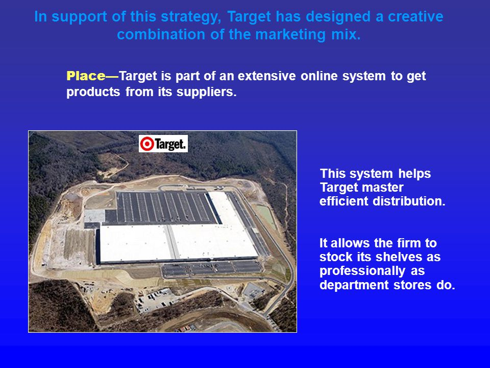 Price —Target features quality products at lower prices. In support of this strategy, Target has designed a creative combination of the marketing mix.
