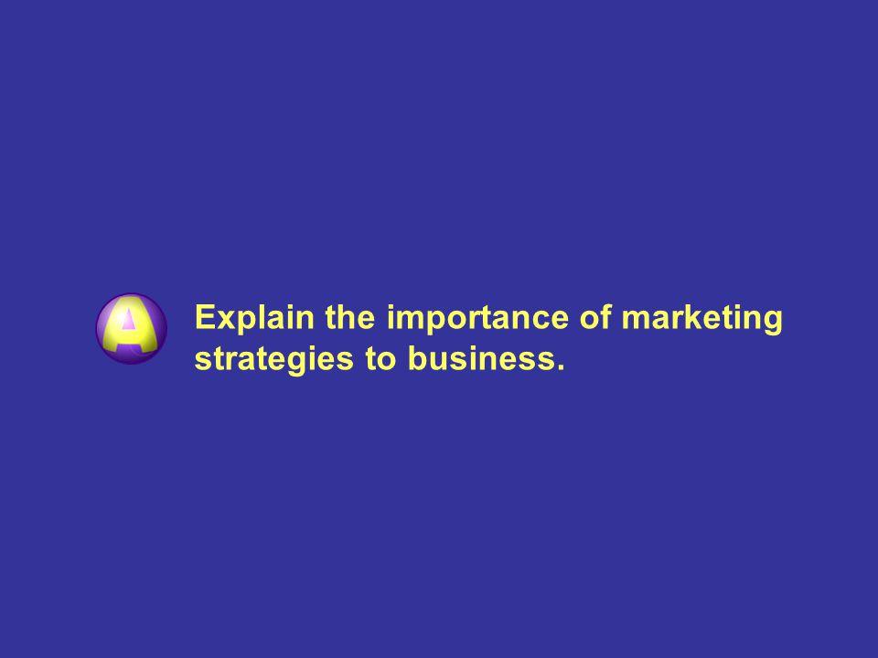 Explain the importance of marketing strategies to business. Explain the nature of the marketing mix.