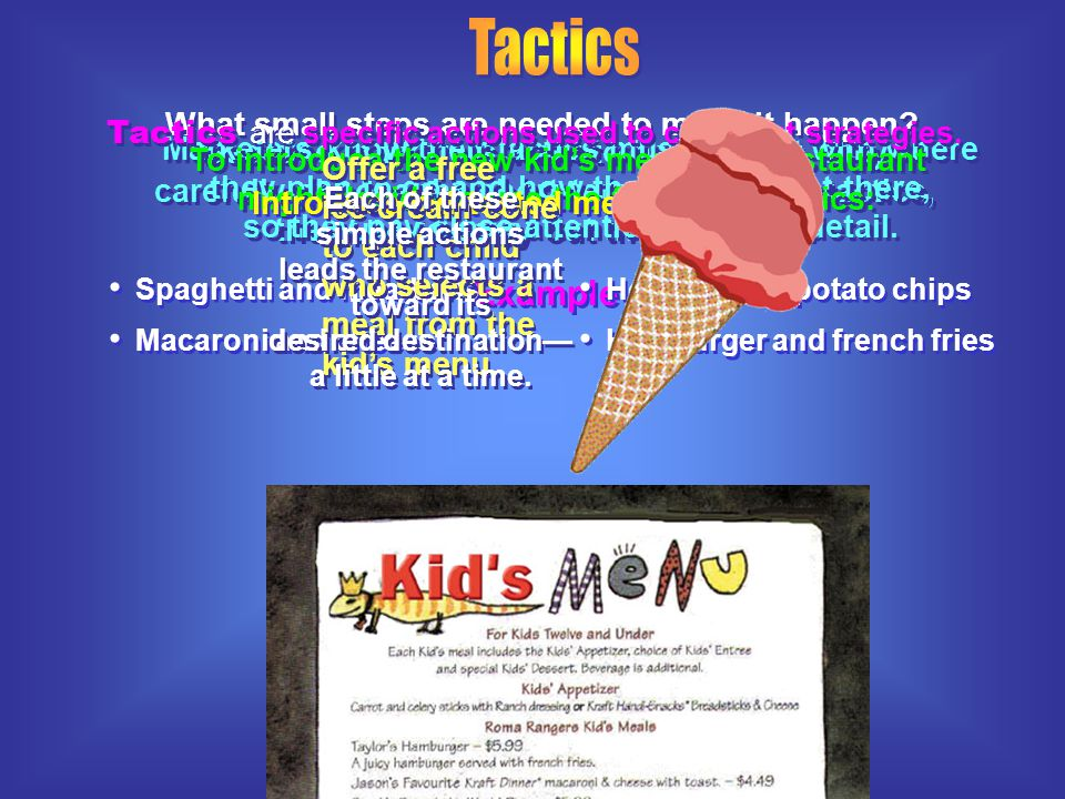One strategy the family-style restaurant might use is to add a kid's menu in order to increase sales to parents in the area. Example By selecting this
