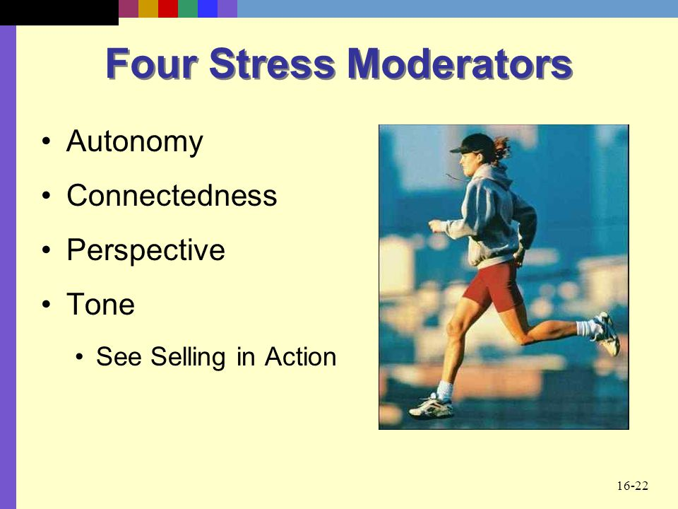 16-22 Four Stress Moderators Autonomy Connectedness Perspective Tone See Selling in Action