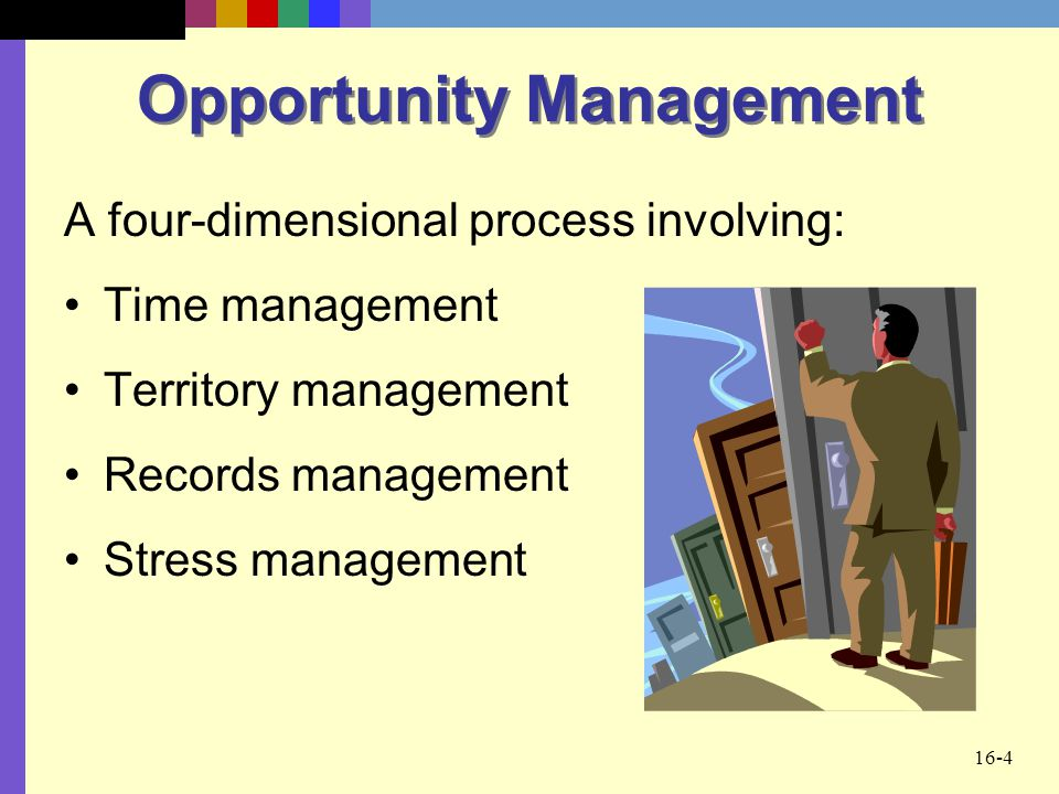 16-4 Opportunity Management A four-dimensional process involving: Time management Territory management Records management Stress management