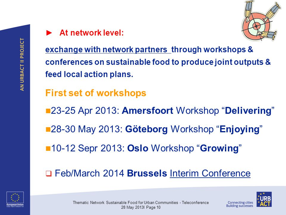 ► At network level: exchange with network partners through workshops & conferences on sustainable food to produce joint outputs & feed local action plans.