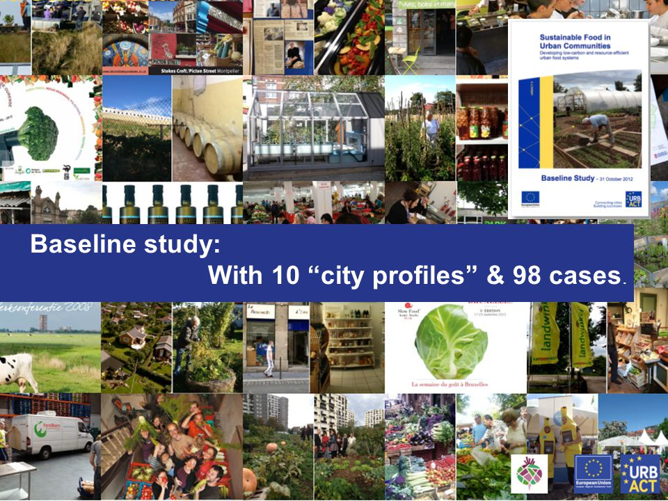 """Thematic Network Sustainable Food for Urban Communities - Teleconference 9 May 2012 I Page 11 Baseline study: With 10 """"city profiles"""" & 98 cases."""