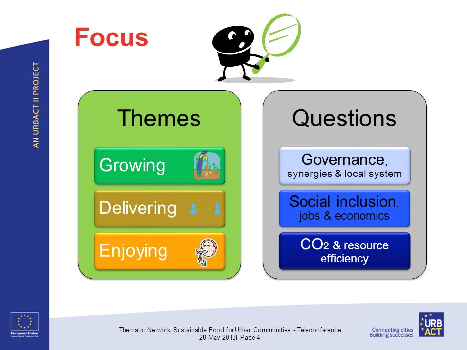Focus Themes GrowingDeliveringEnjoying Questions Governance, synergies & local system Social inclusion, jobs & economics CO 2 & resource efficiency Thematic Network Sustainable Food for Urban Communities - Teleconference 28 May 2013I Page 4