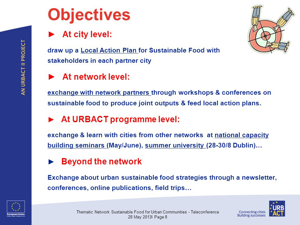 Objectives ► At city level: draw up a Local Action Plan for Sustainable Food with stakeholders in each partner city ► At network level: exchange with network partners through workshops & conferences on sustainable food to produce joint outputs & feed local action plans.