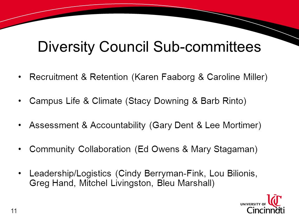 11 Diversity Council Sub-committees Recruitment & Retention (Karen Faaborg & Caroline Miller) Campus Life & Climate (Stacy Downing & Barb Rinto) Assessment & Accountability (Gary Dent & Lee Mortimer) Community Collaboration (Ed Owens & Mary Stagaman) Leadership/Logistics (Cindy Berryman-Fink, Lou Bilionis, Greg Hand, Mitchel Livingston, Bleu Marshall) 11