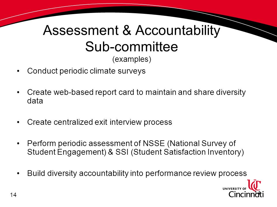 14 Assessment & Accountability Sub-committee (examples) Conduct periodic climate surveys Create web-based report card to maintain and share diversity data Create centralized exit interview process Perform periodic assessment of NSSE (National Survey of Student Engagement) & SSI (Student Satisfaction Inventory) Build diversity accountability into performance review process 14