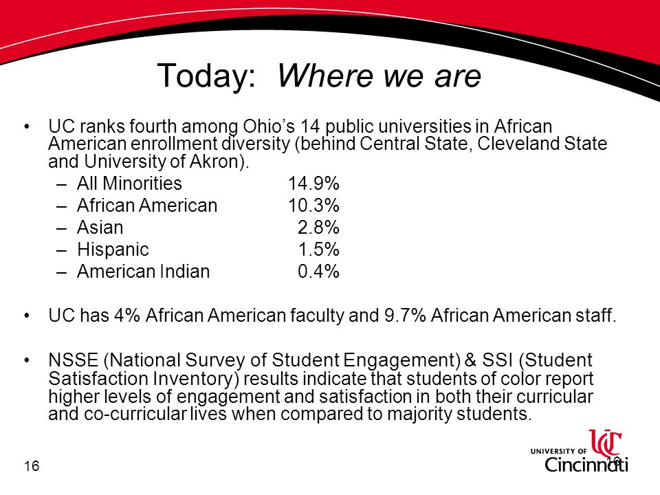 16 Today: Where we are UC ranks fourth among Ohio's 14 public universities in African American enrollment diversity (behind Central State, Cleveland State and University of Akron).