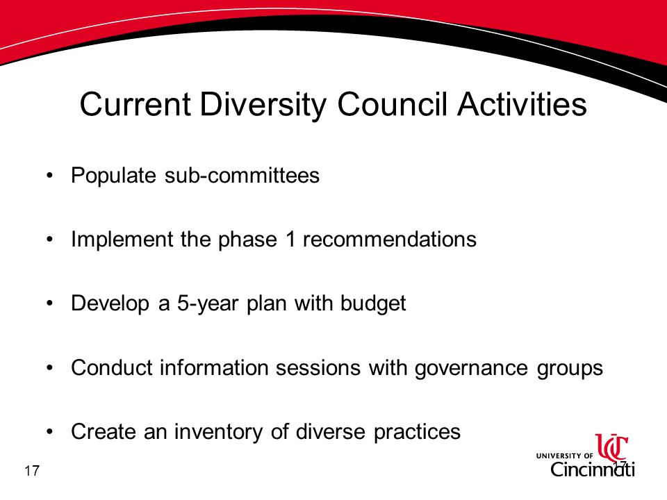 17 Current Diversity Council Activities Populate sub-committees Implement the phase 1 recommendations Develop a 5-year plan with budget Conduct information sessions with governance groups Create an inventory of diverse practices 17