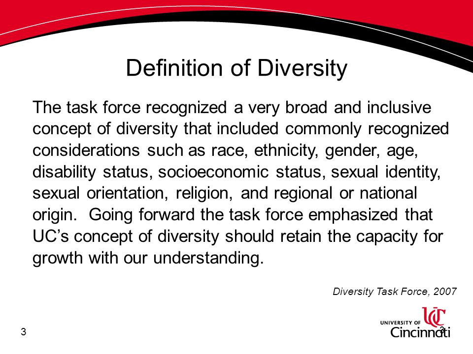 24 Diversity Timeline Time Frame January 2007October 2007December 2007January 2008 Diversity Activity UC|21 Diversity Task Force Recommendations Diversity support system in place Diversity Council Chief Diversity Officer Mission Statement Diversity sub- committees formed Recruitment & Retention Campus Life & Climate Assessment & Accountability Community Collaboration Implementation of Phase I recommendations Prioritize Phase II recommendations Assessment of current diversity initiatives across the university Key Messages Diversity defined broadly Recommendations begin with race and ethnicity Permanent support system in place to drive the diversity agenda for the university Reinforcing the inherent value of diversity Prioritize Phase I recommendations Develop Phase II recommendations given our broader understanding of diversity Roll out of initial recommendations Communication with community regarding specific actions taken Establish a base line in terms of where we are Provide data to inform emerging recommendations 24