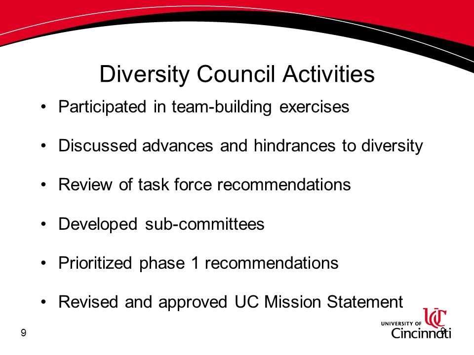 20 Phase 1 Recommendations (continued) Develop, implement and monitor a Communication Plan Revise the UC Mission Statement to include a continuing commitment to diversity and inclusion Reaffirm the university's commitment to the existence of the African American Cultural & Research Center and clarify the separate issue of a multicultural center for broader interests 20