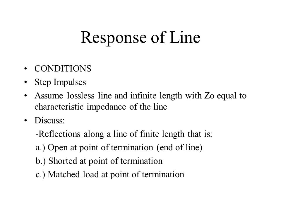 Standing Waves Assume a transmission line with an open termination, a reasonably long line and a sinusoidal source After initial reflection the instantaneous values of incident and reflected voltage add algebraically to give a total voltage Resultant amplitude will vary greatly due to constructive and destructive interference between incident and reflected waves