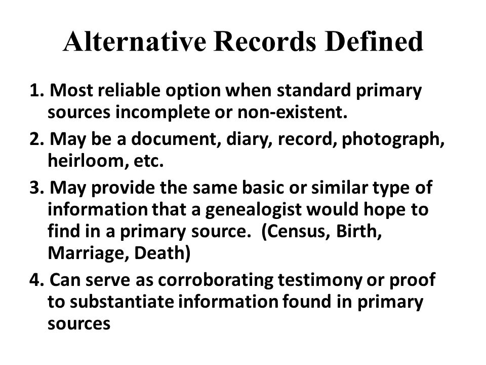 Alternative Records Defined 1.