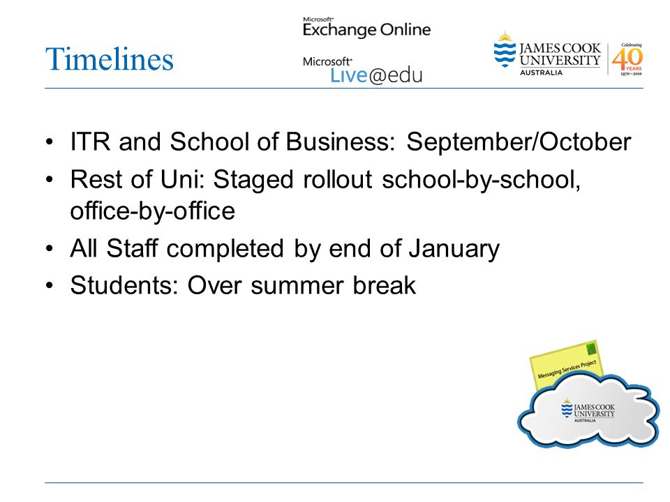 Timelines ITR and School of Business: September/October Rest of Uni: Staged rollout school-by-school, office-by-office All Staff completed by end of January Students: Over summer break
