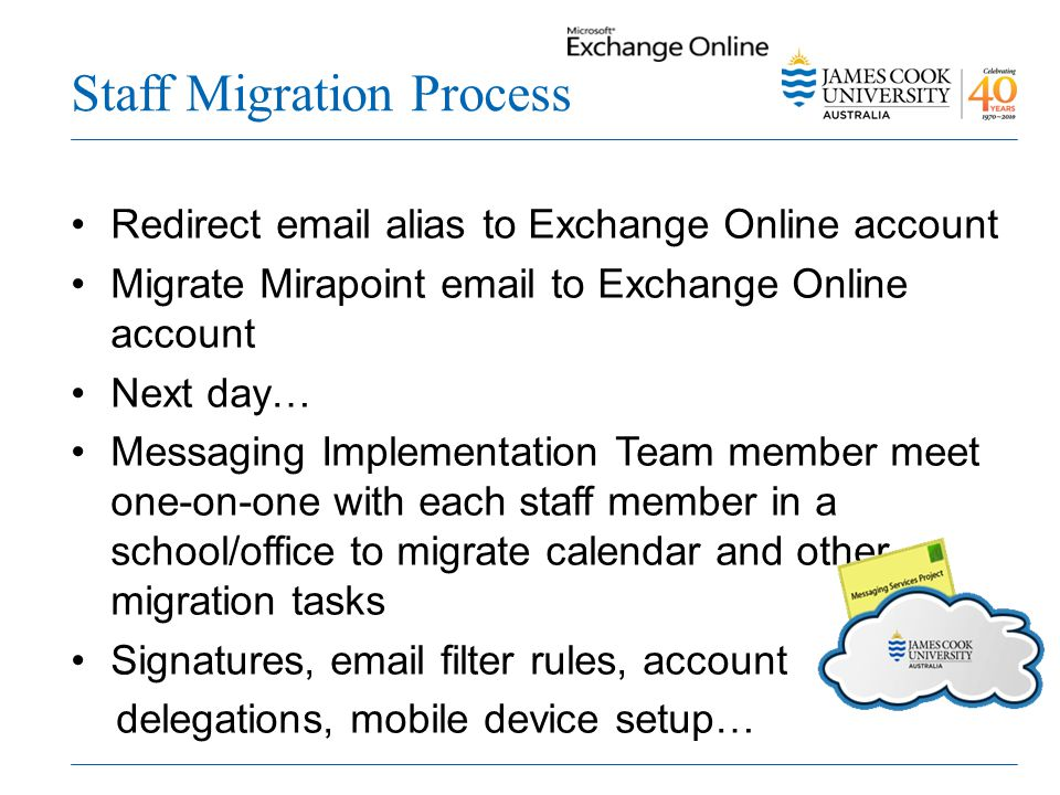 Staff Migration Process Redirect email alias to Exchange Online account Migrate Mirapoint email to Exchange Online account Next day… Messaging Implementation Team member meet one-on-one with each staff member in a school/office to migrate calendar and other migration tasks Signatures, email filter rules, account delegations, mobile device setup…