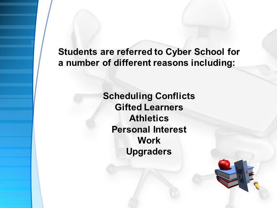 Students are referred to Cyber School for a number of different reasons including: Scheduling Conflicts Gifted Learners Athletics Personal Interest Work Upgraders