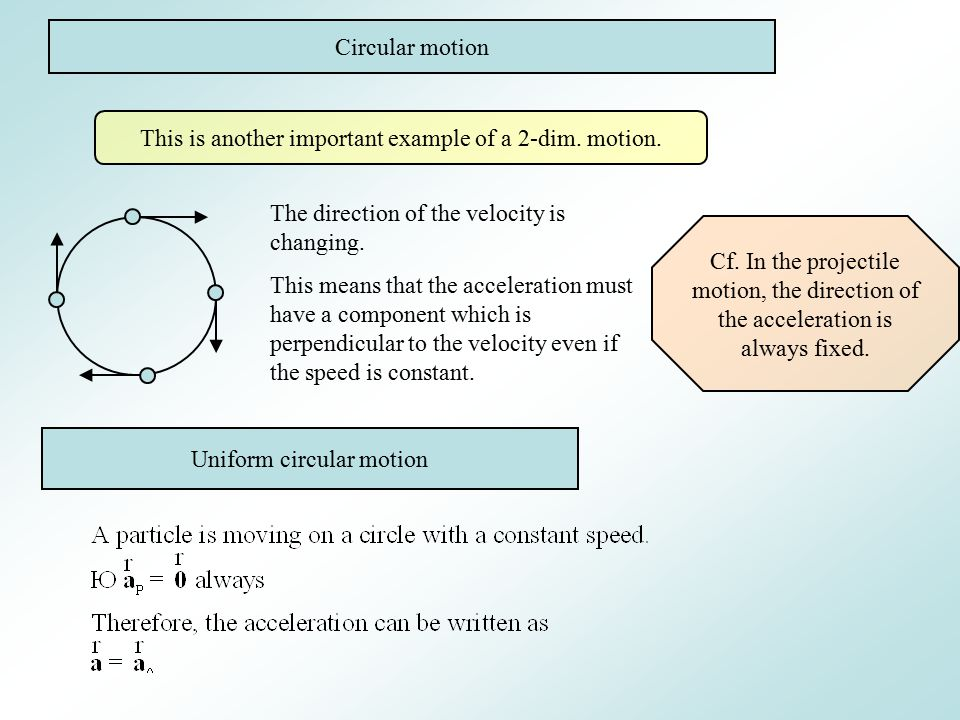 Circular motion This is another important example of a 2-dim.
