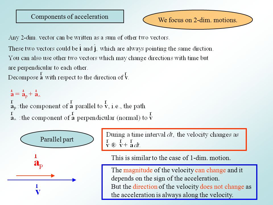 Components of acceleration We focus on 2-dim. motions.