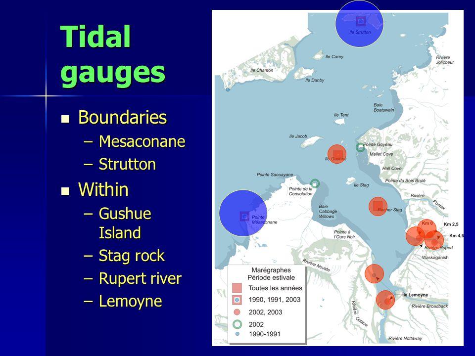 Tidal gauges Boundaries Boundaries –Mesaconane –Strutton Within Within –Gushue Island –Stag rock –Rupert river –Lemoyne