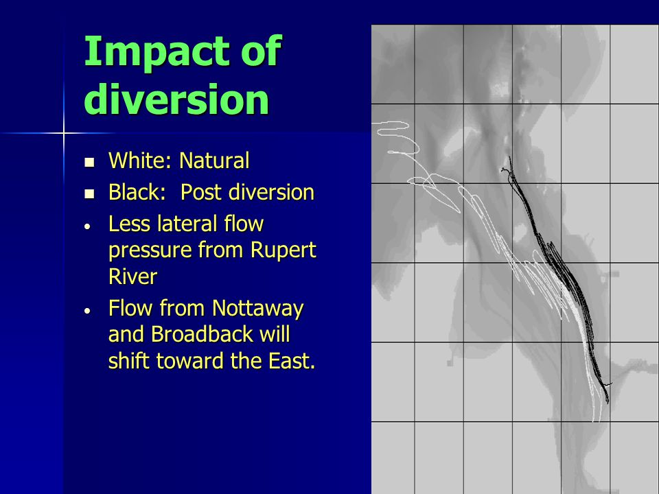 Impact of diversion White: Natural White: Natural Black: Post diversion Black: Post diversion Less lateral flow pressure from Rupert River Less lateral flow pressure from Rupert River Flow from Nottaway and Broadback will shift toward the East.