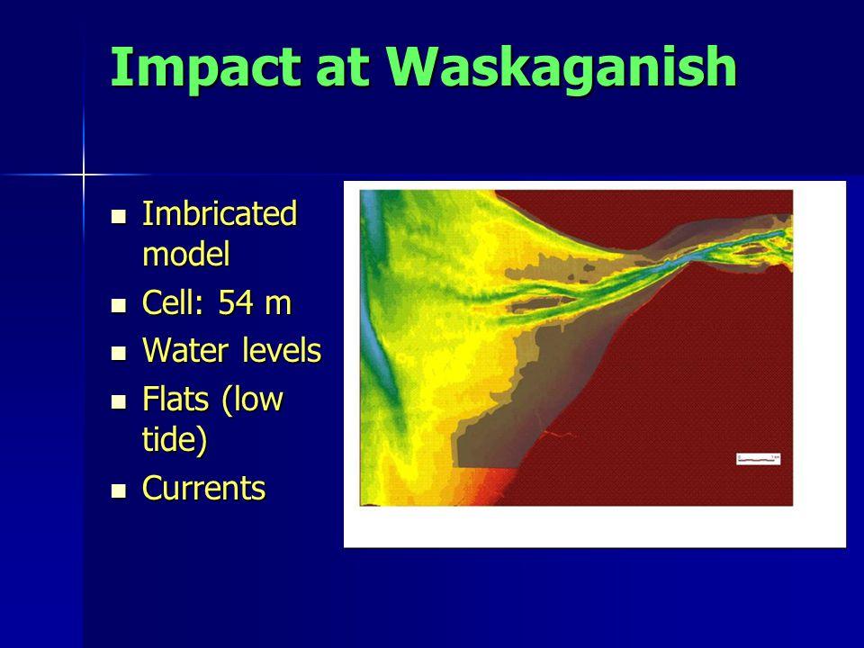 Impact at Waskaganish Imbricated model Imbricated model Cell: 54 m Cell: 54 m Water levels Water levels Flats (low tide) Flats (low tide) Currents Currents