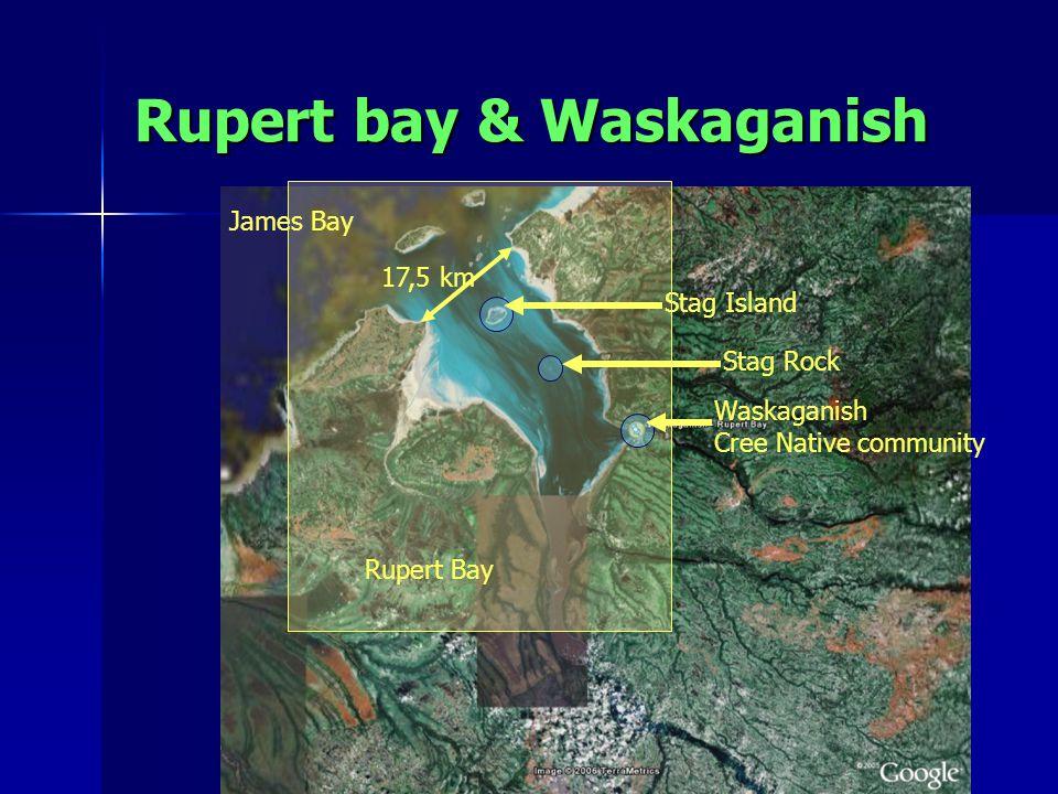 Rupert bay & Waskaganish James Bay Rupert Bay Stag Rock Waskaganish Cree Native community 17,5 km Stag Island
