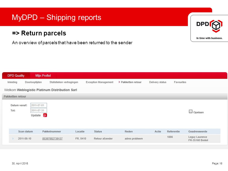 MyDPD – Shipping reports => Return parcels 30.