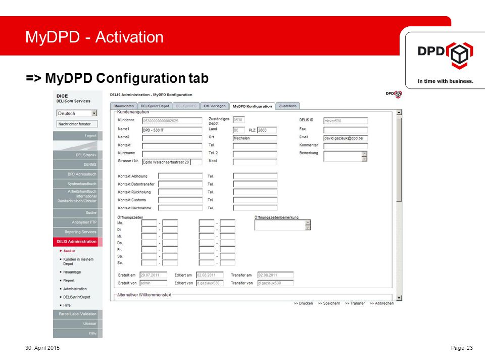 MyDPD - Activation => MyDPD Configuration tab 30. April 2015 Page: 23