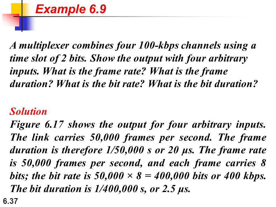 6.37 A multiplexer combines four 100-kbps channels using a time slot of 2 bits. Show the output with four arbitrary inputs. What is the frame rate? Wh