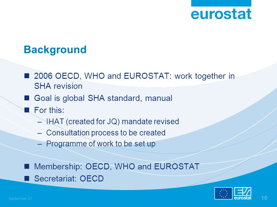 September 21 10 Background 2006 OECD, WHO and EUROSTAT: work together in SHA revision Goal is global SHA standard, manual For this: –IHAT (created for JQ) mandate revised –Consultation process to be created –Programme of work to be set up Membership: OECD, WHO and EUROSTAT Secretariat: OECD