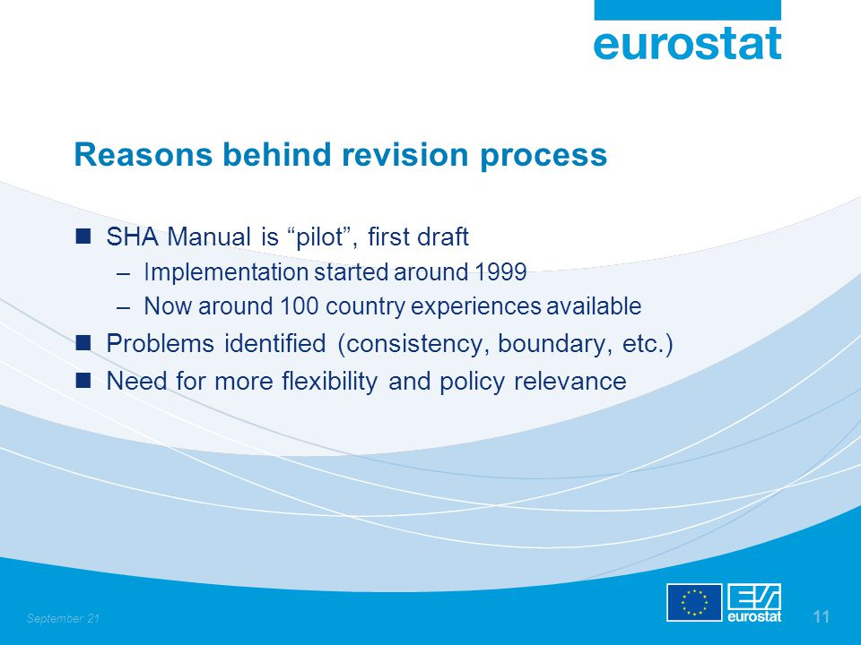 September 21 11 Reasons behind revision process SHA Manual is pilot , first draft –Implementation started around 1999 –Now around 100 country experiences available Problems identified (consistency, boundary, etc.) Need for more flexibility and policy relevance