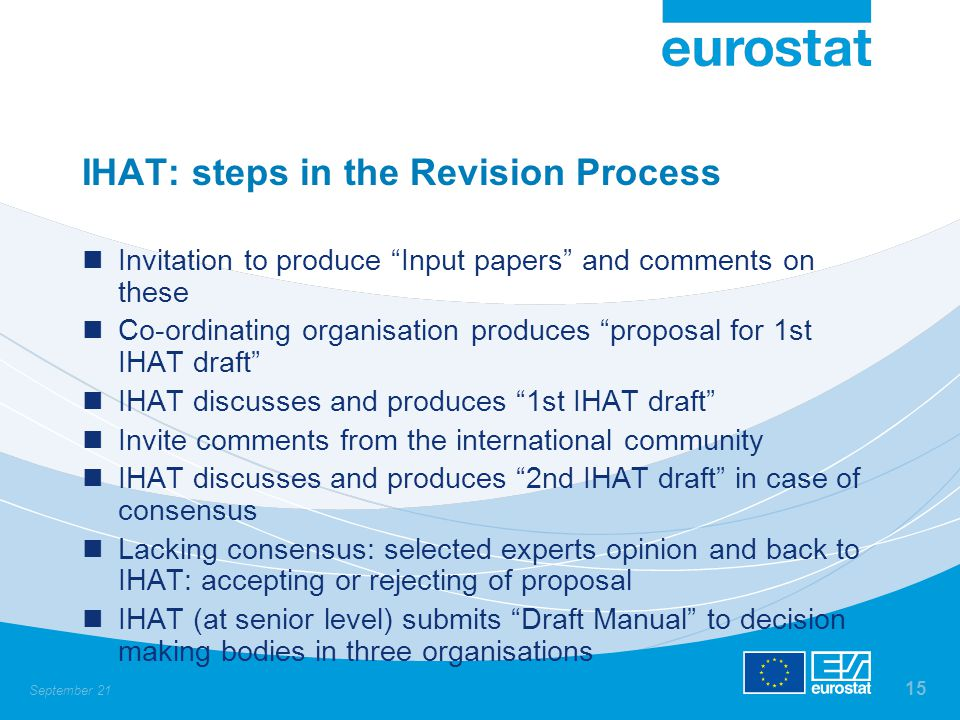 """September 21 15 IHAT: steps in the Revision Process Invitation to produce """"Input papers"""" and comments on these Co-ordinating organisation produces """"pr"""