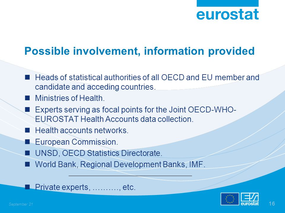 September 21 16 Possible involvement, information provided Heads of statistical authorities of all OECD and EU member and candidate and acceding countries.