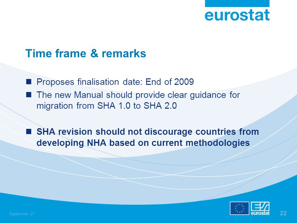 September 21 22 Time frame & remarks Proposes finalisation date: End of 2009 The new Manual should provide clear guidance for migration from SHA 1.0 t