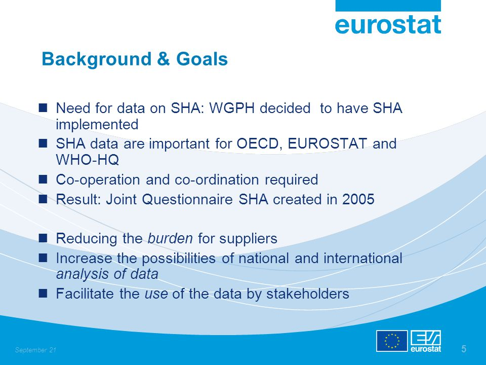 September 21 5 Background & Goals Need for data on SHA: WGPH decided to have SHA implemented SHA data are important for OECD, EUROSTAT and WHO-HQ Co-o
