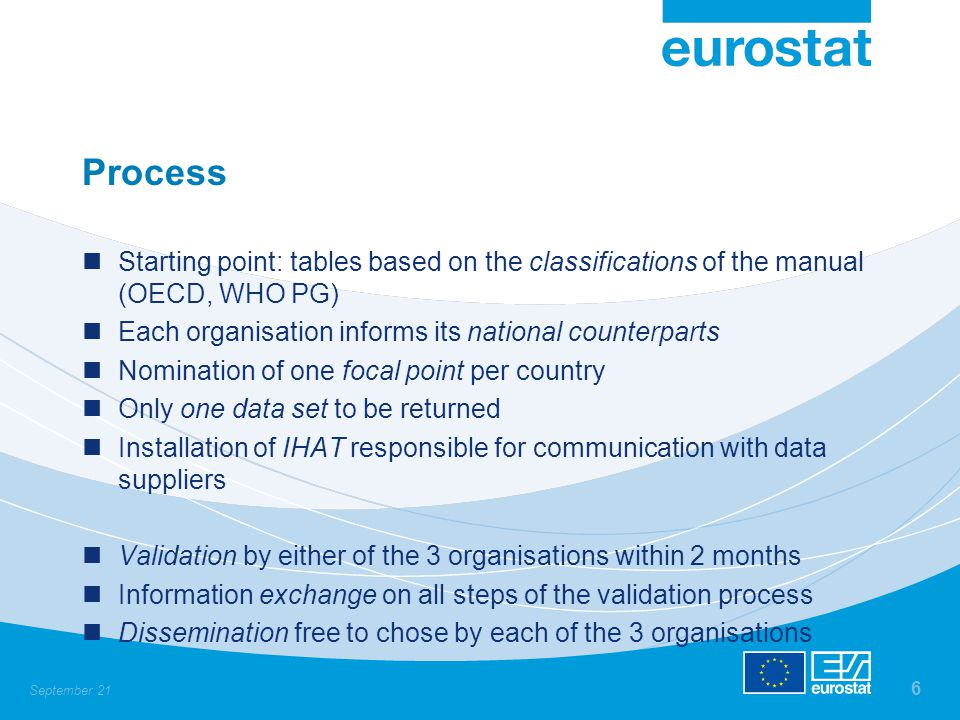 September 21 6 Process Starting point: tables based on the classifications of the manual (OECD, WHO PG) Each organisation informs its national counterparts Nomination of one focal point per country Only one data set to be returned Installation of IHAT responsible for communication with data suppliers Validation by either of the 3 organisations within 2 months Information exchange on all steps of the validation process Dissemination free to chose by each of the 3 organisations