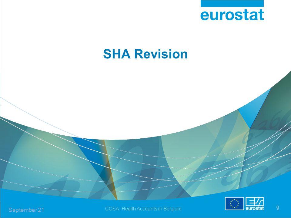COSA: Health Accounts in Belgium 9 SHA Revision