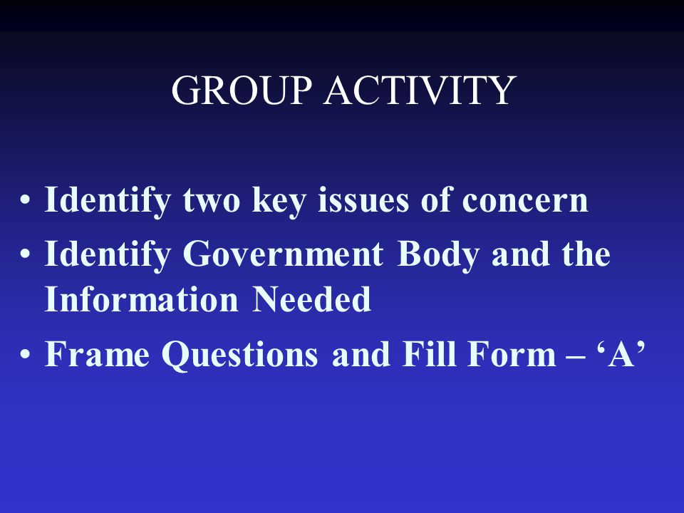 GROUP ACTIVITY Identify two key issues of concern Identify Government Body and the Information Needed Frame Questions and Fill Form – 'A'
