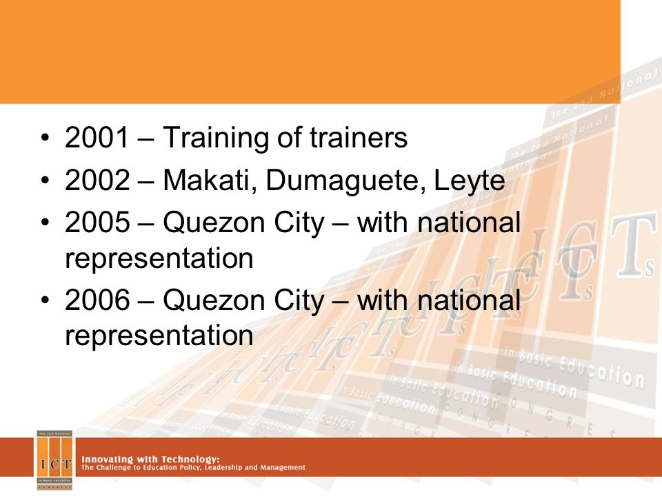 2001 – Training of trainers 2002 – Makati, Dumaguete, Leyte 2005 – Quezon City – with national representation 2006 – Quezon City – with national representation